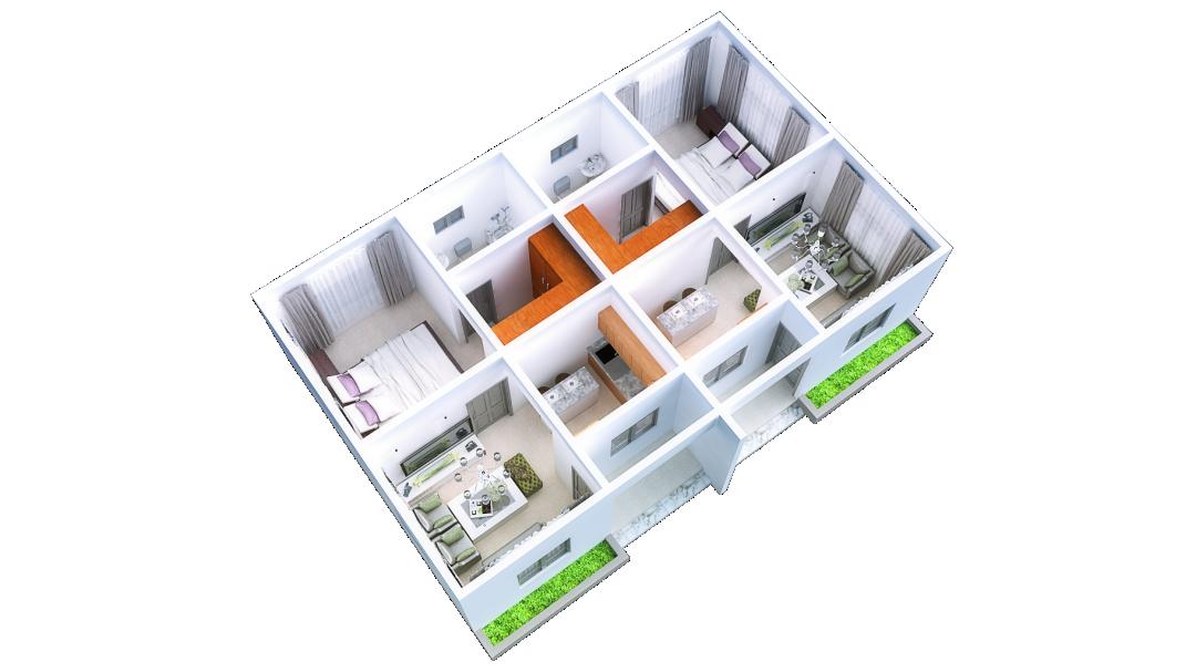 1 Bedroom-3D