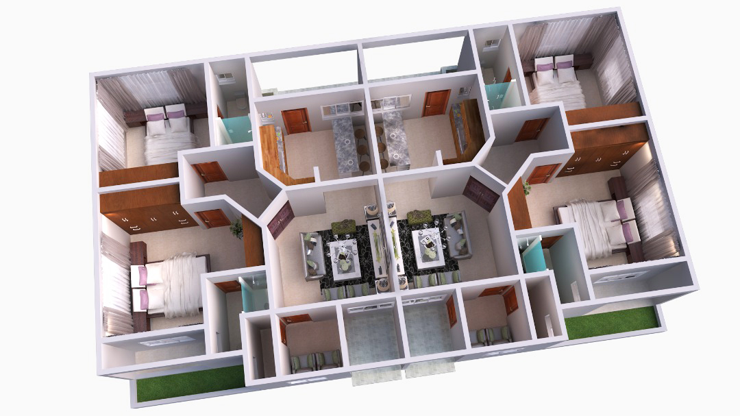 (2) two bedroom axonometric